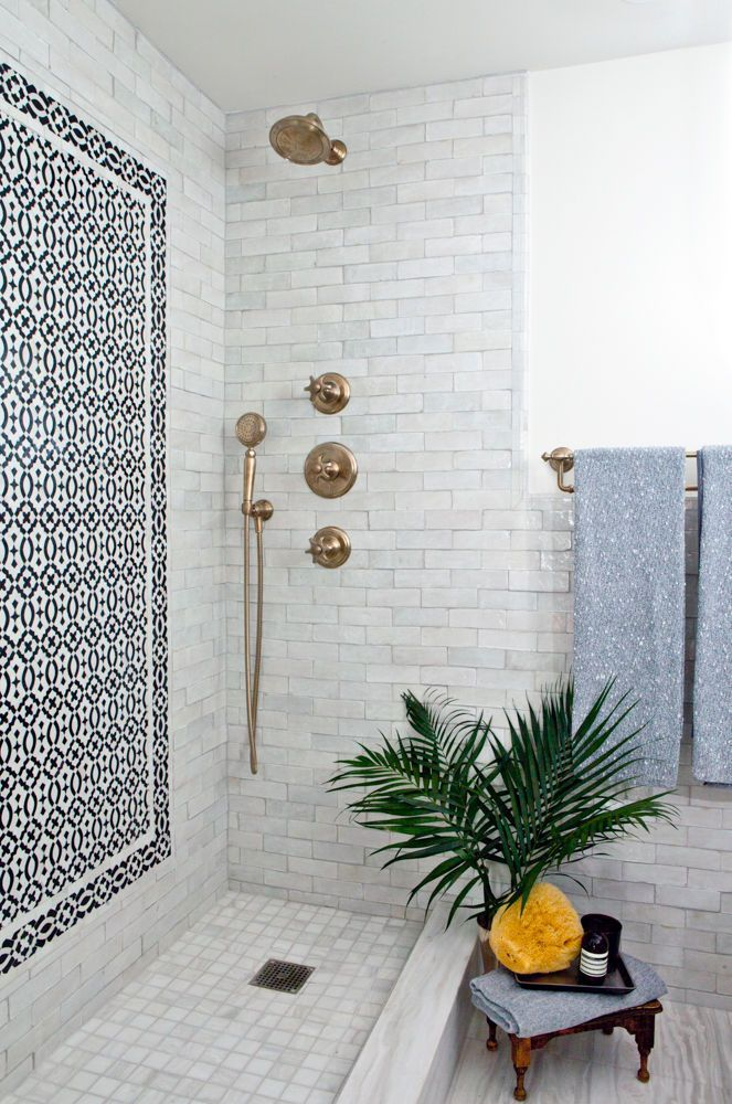 tiled shower in bathroom