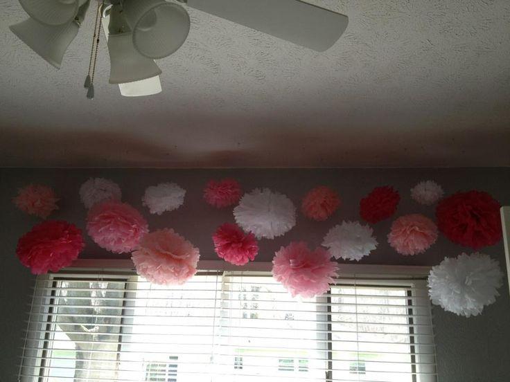 Project Nursery - Pink and Gray Girl Nursery Tissue Poms- cute window tx idea.