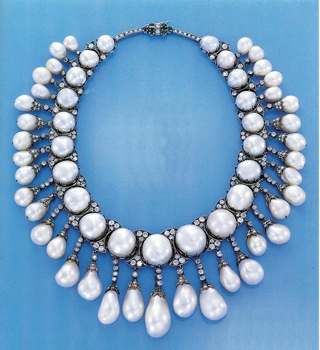 #TBT to all natural pearl lovers out there!! This natural pearl and diamond necklace was sold in 1991 at Christie's New York.. For US187,000... The things we find when going back to old auction catalogues... #christiesjewels #jewels #naturalpearl #pearl #diamond #necklace