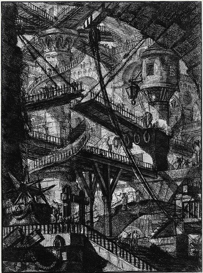 Planche VII, dite « Le Pont-levis », de la série des Prisons de Giovanni Battista Piranesi dit Piranèse. Le Carceri d'Invenzione furent publiées à Rome en 1761.