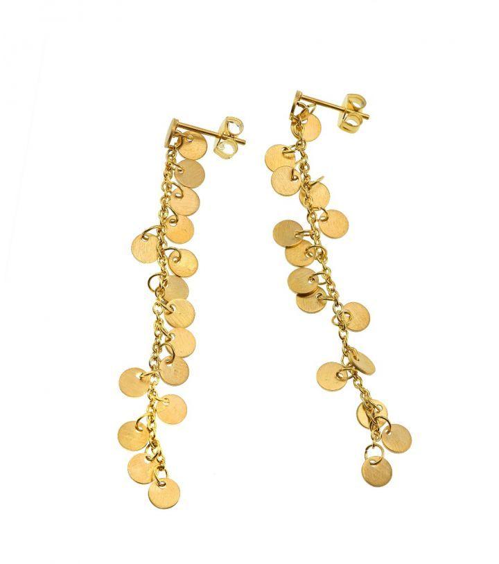 Diameter 4 mm, length of earring 5,5 mm.   Matt gold plated stainless steel. Nickel safe.