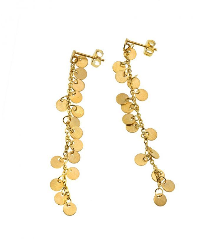 Diameter 4 mm, length of earring 5,5 mm.   Matt gold plated stainless steel. Nickel safe.