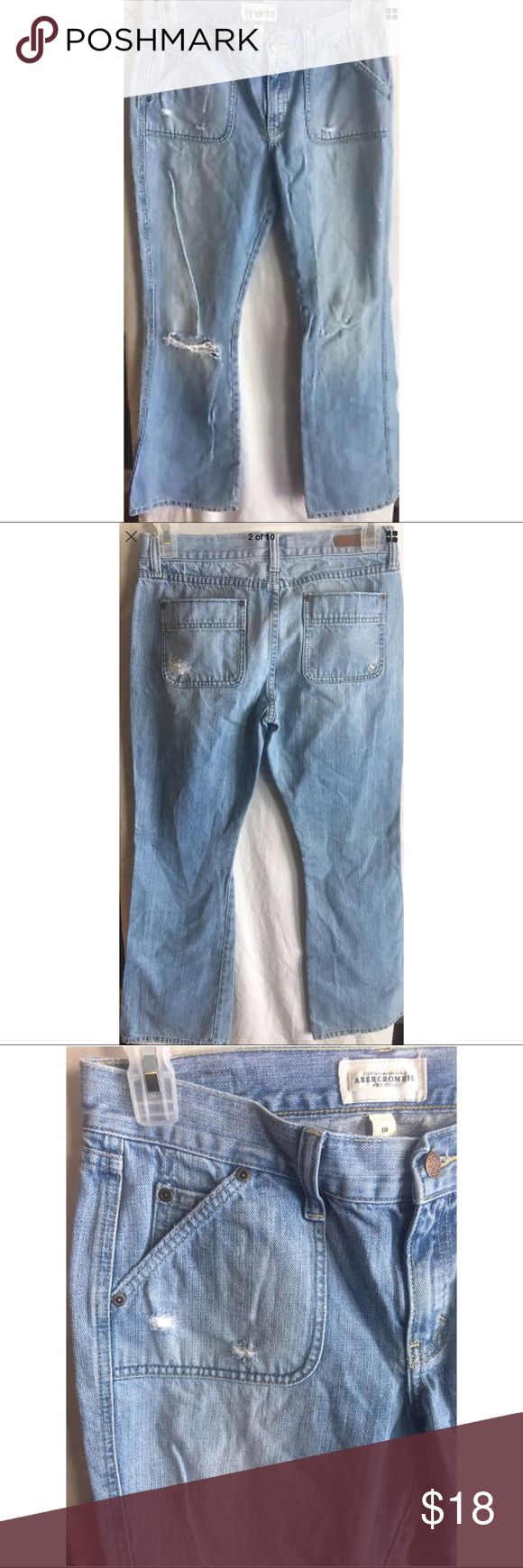 """Abercrombie & Fitch Women Distressed Jeans Size 10 Abercrombie & Fitch women's distressed flare jeans size 10  SKU: 55147510 Measurements-  Waist: 33""""  Rise: 9""""  Inseam: 32""""      Buyer please note there is some minor wear on the hems. Please view photos prior to purchase. Thank you!     Customer service is my #1 priority! I strive to not only meet, but to exceed the standard. If for any reason you are unhappy with your order, I will make it right!    Thank you for supporting small business!"""