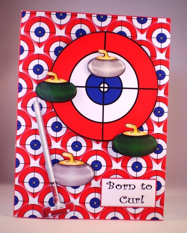 Handmade Curling Sport 3D Any Occasion Greetings Card £3.50