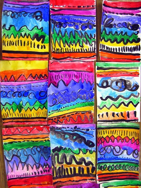 Kindergarten is making art using Line. We first drew the lines with oil pastels and then we will color inside the lines to make watercolor stripes. Our books of inspiration were Little Green and A Bad Case of the Stripes.