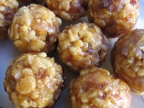 Rice Krispie Date Balls. Need to see if these become as rock-hard as the others I made. . .