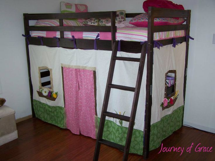 Cubby house under a loft bed DIY