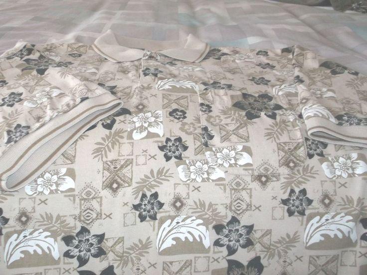 Men's Hawaiian Print Shirt Island Blue Cotton Blend Size L Browns Knit Collar #IslandBlue #Hawaiian