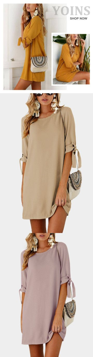 Self-tie at Sleeves Mini Dress