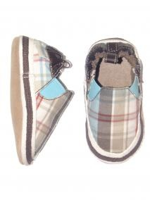 Robeez Day Out Plaid Soft Sole Baby Crib Shoes - Robeez - rob2637 - Blue/Brown/White in Blue/Brown/White