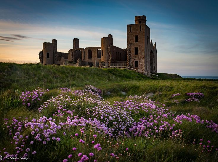 Slains Castle at dusk in Aberdeenshire
