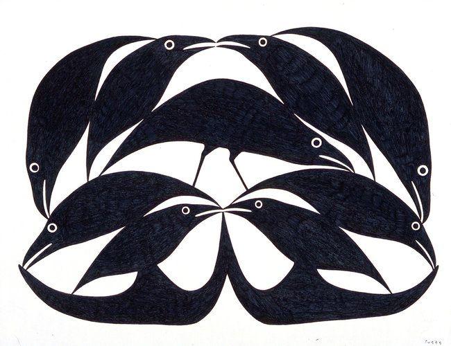stellairestudio:  Raven Shapes II by Kenojuak Ashevak, Inuit artist
