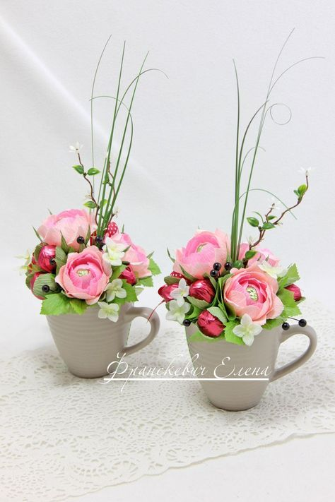 Candy paper flower bouquet in a cup