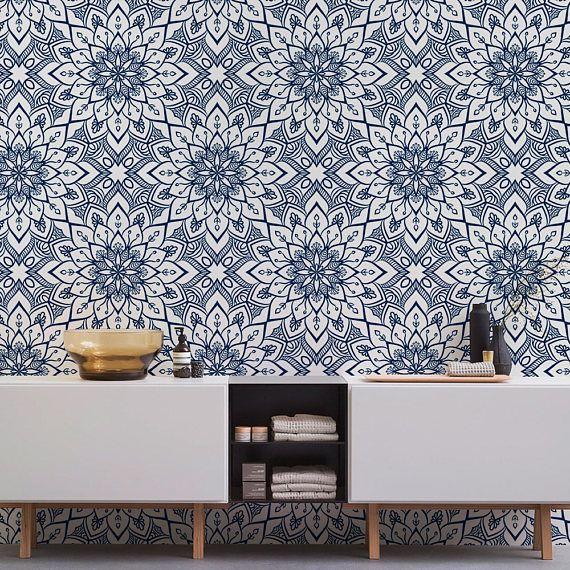 Tile Wallpaper Moroccan Wallpaper Peel And Stick Wallpaper Mandala