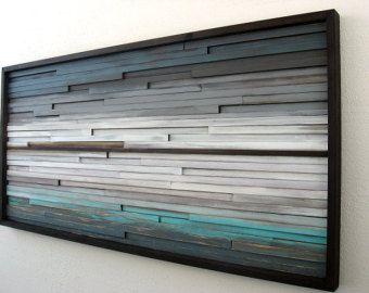 Abstract Wood Wall Art of Ocean Landscape by ModernRusticArt