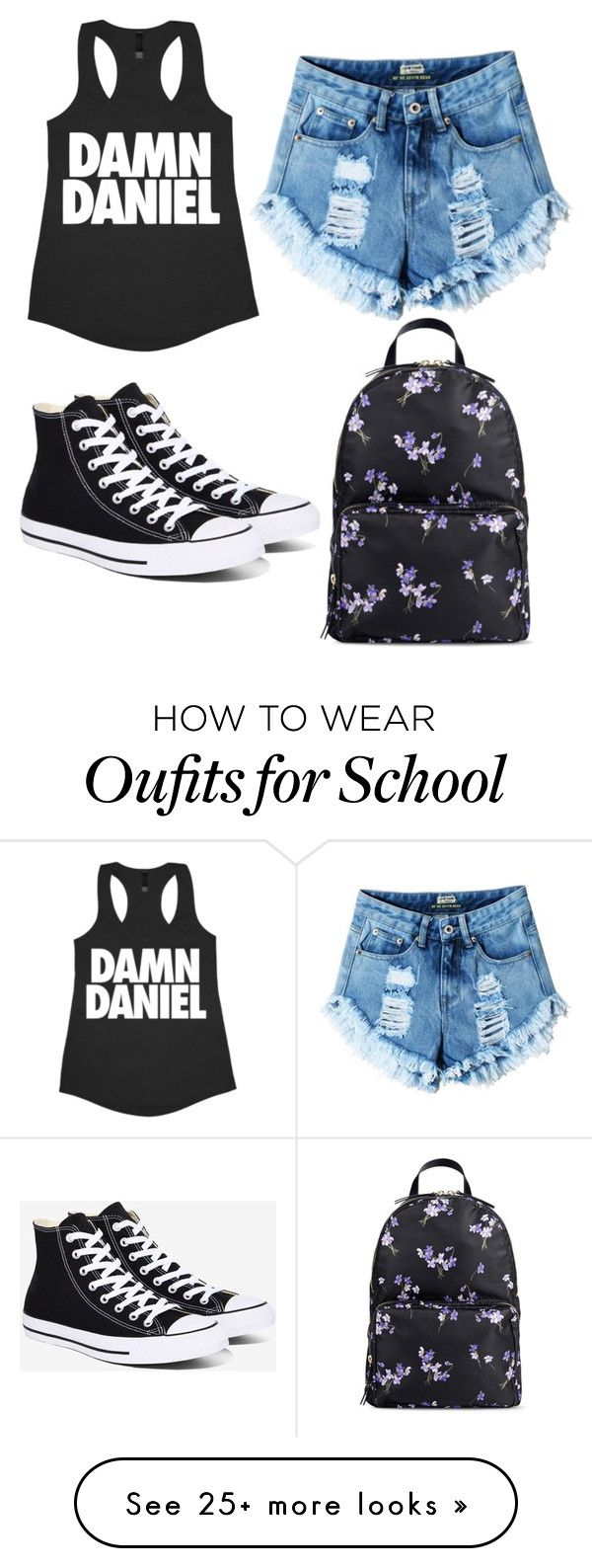 """""""school"""" by elizabethduff on Polyvore featuring RED Valentino and Converse"""