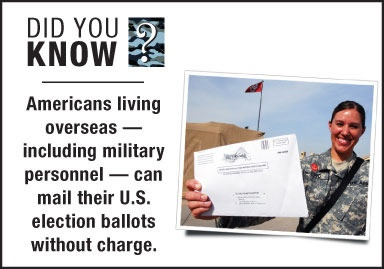 """""""Did You Know?"""": Americans living overseas — including military personnel — can mail their U.S. election ballots without charge."""