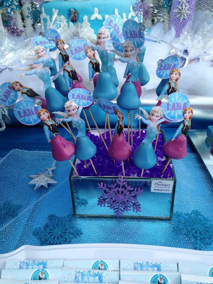 Frozen birthday party cake pops!  See more party planning ideas at CatchMyParty.com!