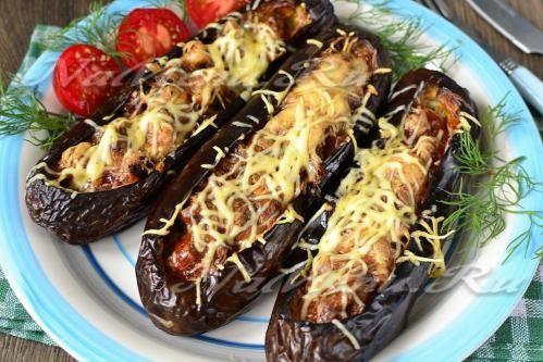 Баклажаны запеченные в духовке с помидорами и сыром и фаршем