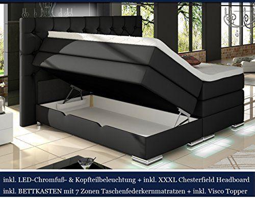 XXXL MAILAND Boxspringbett mit Bettkasten Designer Boxspring Bett Chesterfield LED SCHWARZ CHESTERFIELD DESIGN (200x200cm, Schwarz)