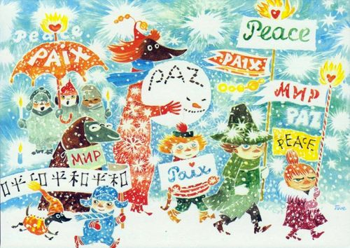 Moomin Christmas card by Tove Jansson for Unicef
