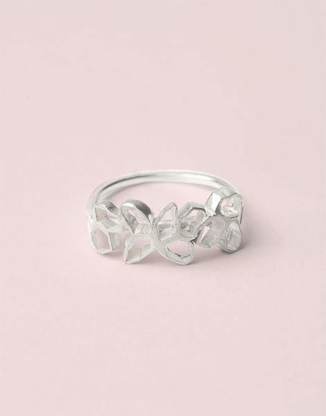 Coral Cluster Ring, sterling silver