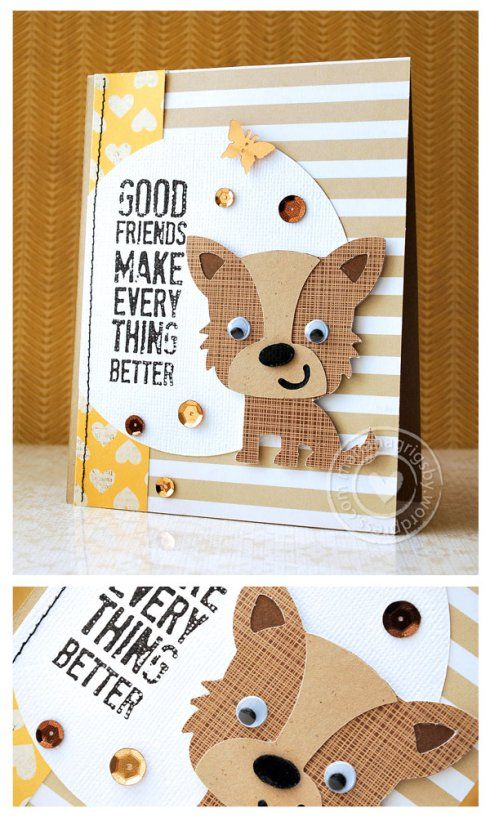 handmade card ... adorable Cricut cut puppy ... great choice of printed and solid papers ... fun card!