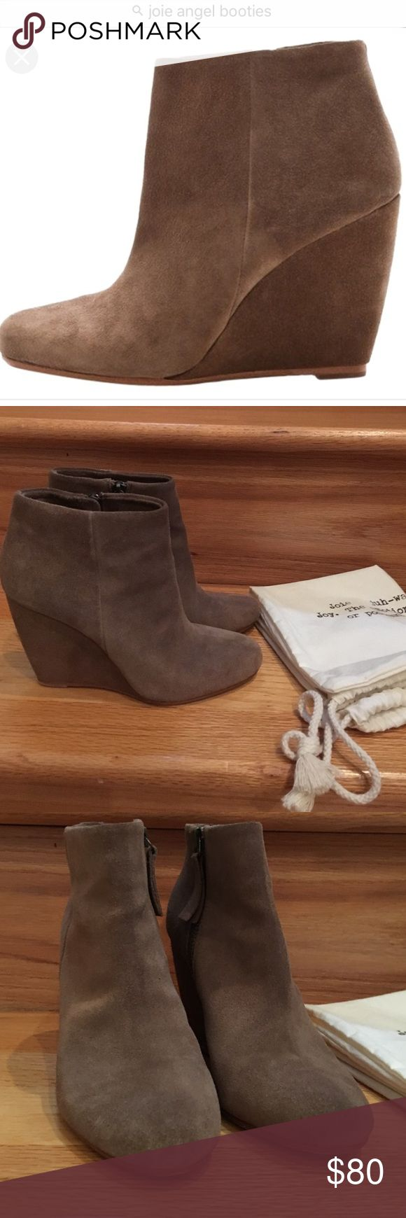 """• Joie • Joie Angel boots. Inside zipper. Approx 3.5"""" wedge heel. Size 36 (US 6). Taupe color. Excellent used condition. Includes dust bag. Joie Shoes Ankle Boots & Booties"""