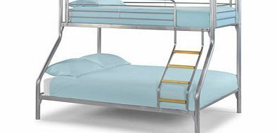 Julian Bowen Atlas Triple Bunk Bed Silver triple sleeper bunk bed featuring single bed on top and on the bottom a double bed. Triple sleeper 90 x 190cmSingle bed on top, 135 x 190cm double on the bottom Wooden slatted base Fixed ladder http://www.comparestoreprices.co.uk/bunk-beds/julian-bowen-atlas-triple-bunk-bed.asp