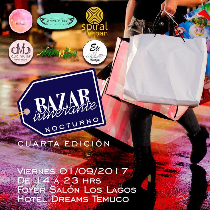 """SHOPPING NIGHT!!! ❤️💙💛💜💚💋💋💋 Con la 4ta Edición de #BazarItinerante """"Nocturno"""" 💄🎀🌂👓👖👝👚👙👗👝👜👕👢👠💼 El Viernes 01 de Septiembre 2017 De las 14 a las 23 hrs en el Foyer Salón Los Lagos del Hotel Dreams Temuco  Invita a tus amigas y aprovecha la variedad de más de 14 stands. Apoya el emprendimiento regional !!!. 👑 👒 👓 👔 👕 👖 👗 👘 👙 👚 👛 👜 👝 👞 👟 👠 👡 👢 💇  Organizan Bazar Itinerante: ✅@boutique_santo_cielo ✅@medicinanaturalchile ✅@maquillajestore.online…"""