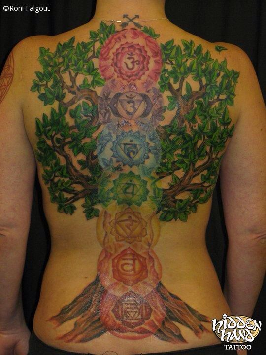 Beautiful seven chakra with tree tattoo crown third eye for Solar plexus tattoo