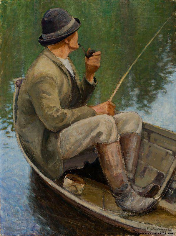 Pekka Halonen (1865-1933) Onkija ; Onkiva ukko / Angler; Fishing old man - 1922 - Finland