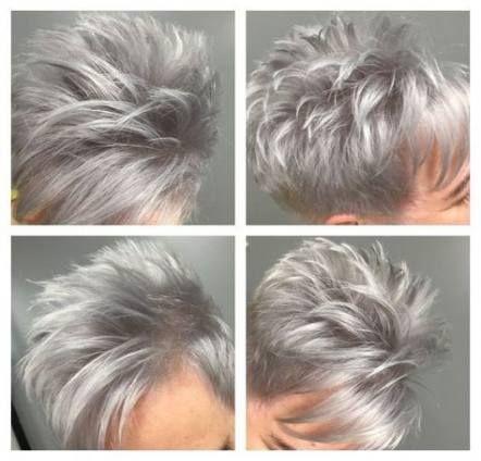 23 Trendy Hair Blonde Grey Pixie Cuts #hair