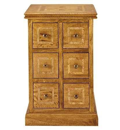 Malabar solid mango 6 drawer lamp table, marble inlay
