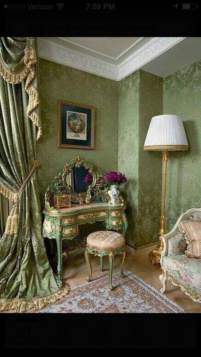 Love green on the boudoir!