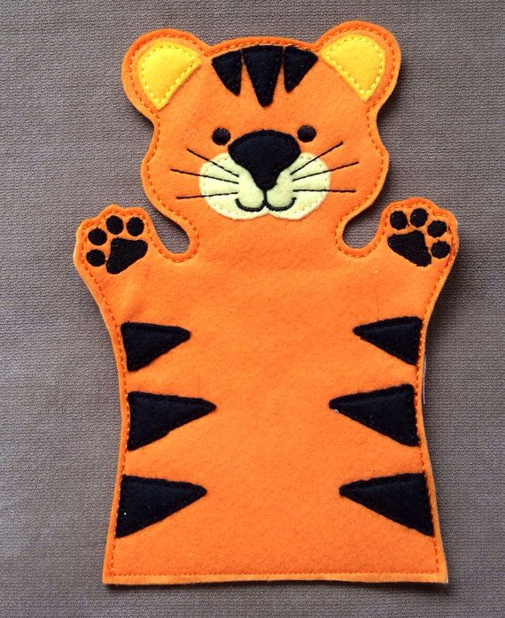 Tiger Jungle Animal Hand Puppet Adult OR Kid por ThatsSewPersonal