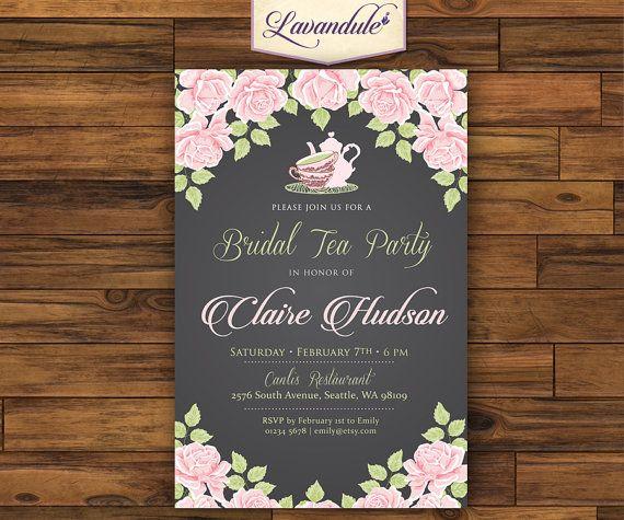 Bridal Tea Party Chalk Board Floral Pink Tea by Lavandule on Etsy