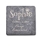 Personalized Memorial Pet Headstone Customized - Always Remembered - 6 x 6 Negro Marquina Marble