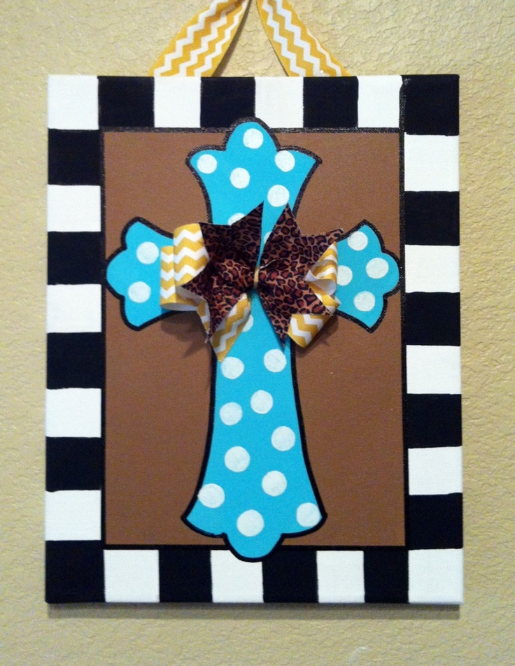Cross sign, painted wall sign, custom canvas, fun sign. $30.00, via Etsy.