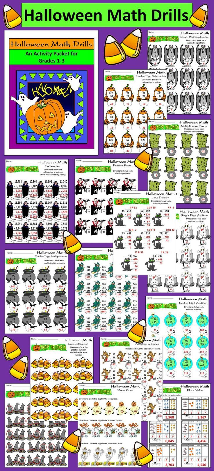 Halloween Math Drills: This packet provides many math exercises with a Halloween…