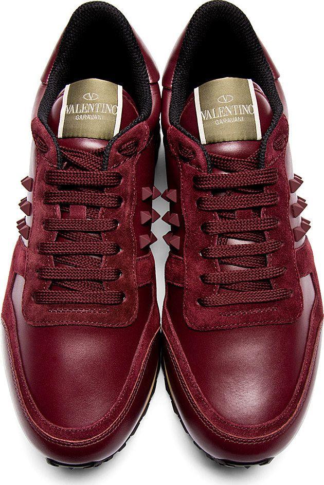 Valentino: Burgundy Leather & Suede Rockstud Sneakers