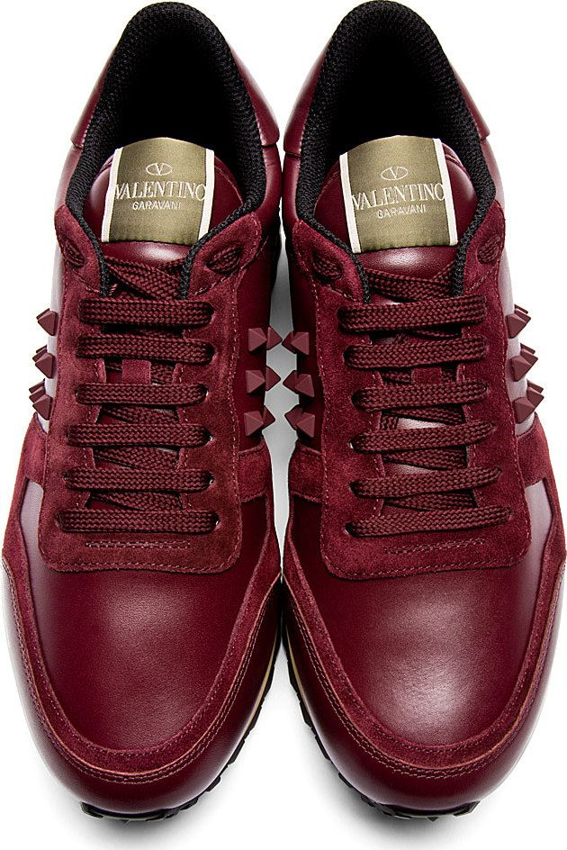 Valentino: Burgundy Leather & Suede Rockstud Sneakers