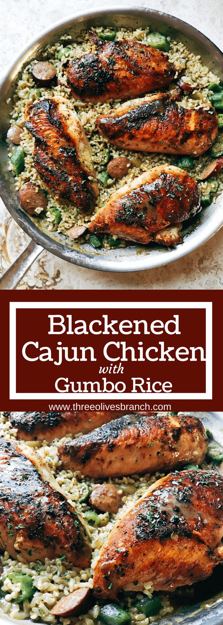 Flavors of gumbo in a chicken and rice one-pot meal. Blackened chicken is paired with smoked sausage, okra, and cajun seasoning in brown rice for a dish that takes you to New Orleans. Blackened Cajun Chicken with Gumbo Rice | Three Olives Branch | www.threeolivesbranch.com  #DogsLoveNutrishDISH #ad