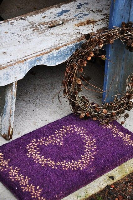 Heart Welcome MatWooden Benches, Purple Hearts, Purple Food, Front Doors, Mats, Rugs, Purple Doors, Purple Gardens, My Style
