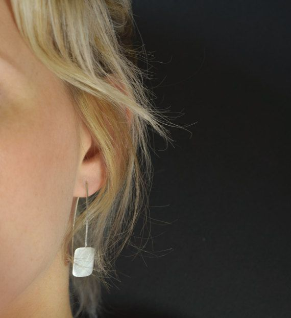 Silver Square Drop Earrings  Geometric Drop Earrings by MUKAstudio