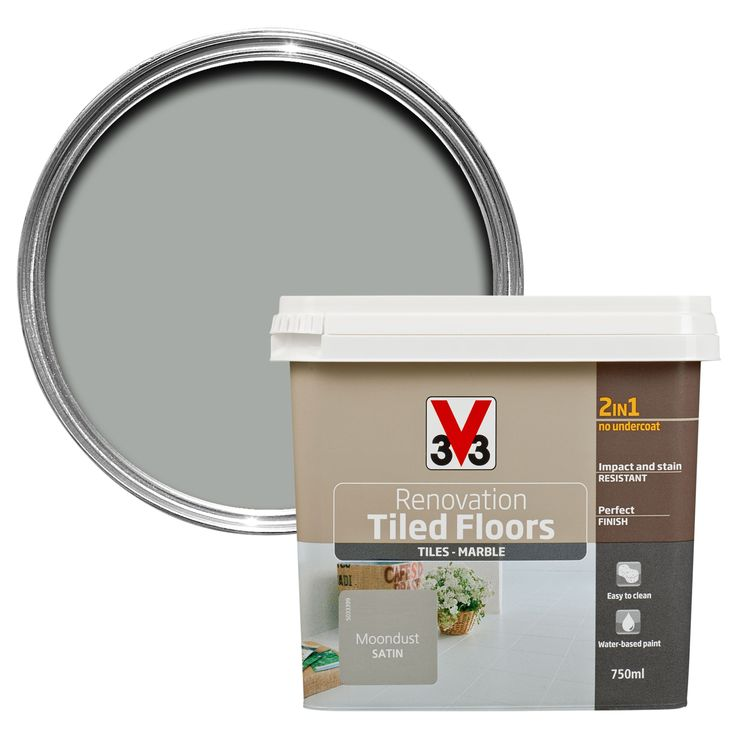 V33 Renovation Moondust Satin Floor Tile Paint0.75L | Departments | DIY at B&Q
