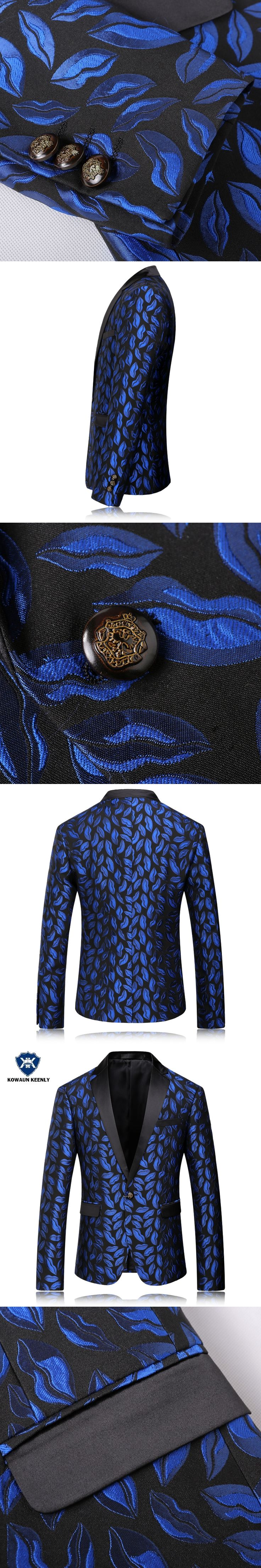 Mens Royal Blue Blazer Pattern Slim Fit Blazers Men Suit Jacket Stage Costumes For Singer Party Floral Blazer Vintage Party Wear