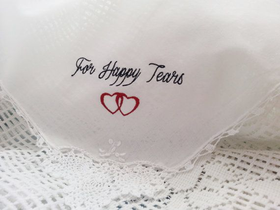 Embroidered Wedding Handkerchief  For Happy by TheBrideandGroom, $13.00