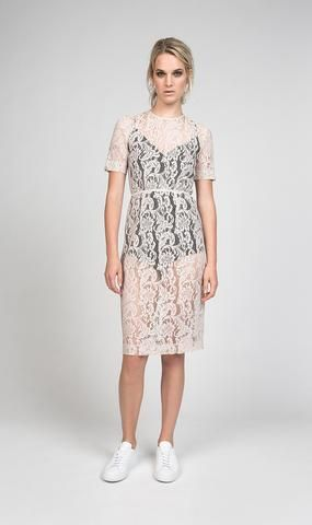 Juliette Hogan | Dune Lace Dress-Powder