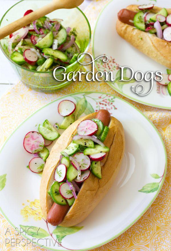 Garden Hot Dog Recipe with cream cheese!   ASpicyPerspective.com #summer #recipe #hotdog #party #garden